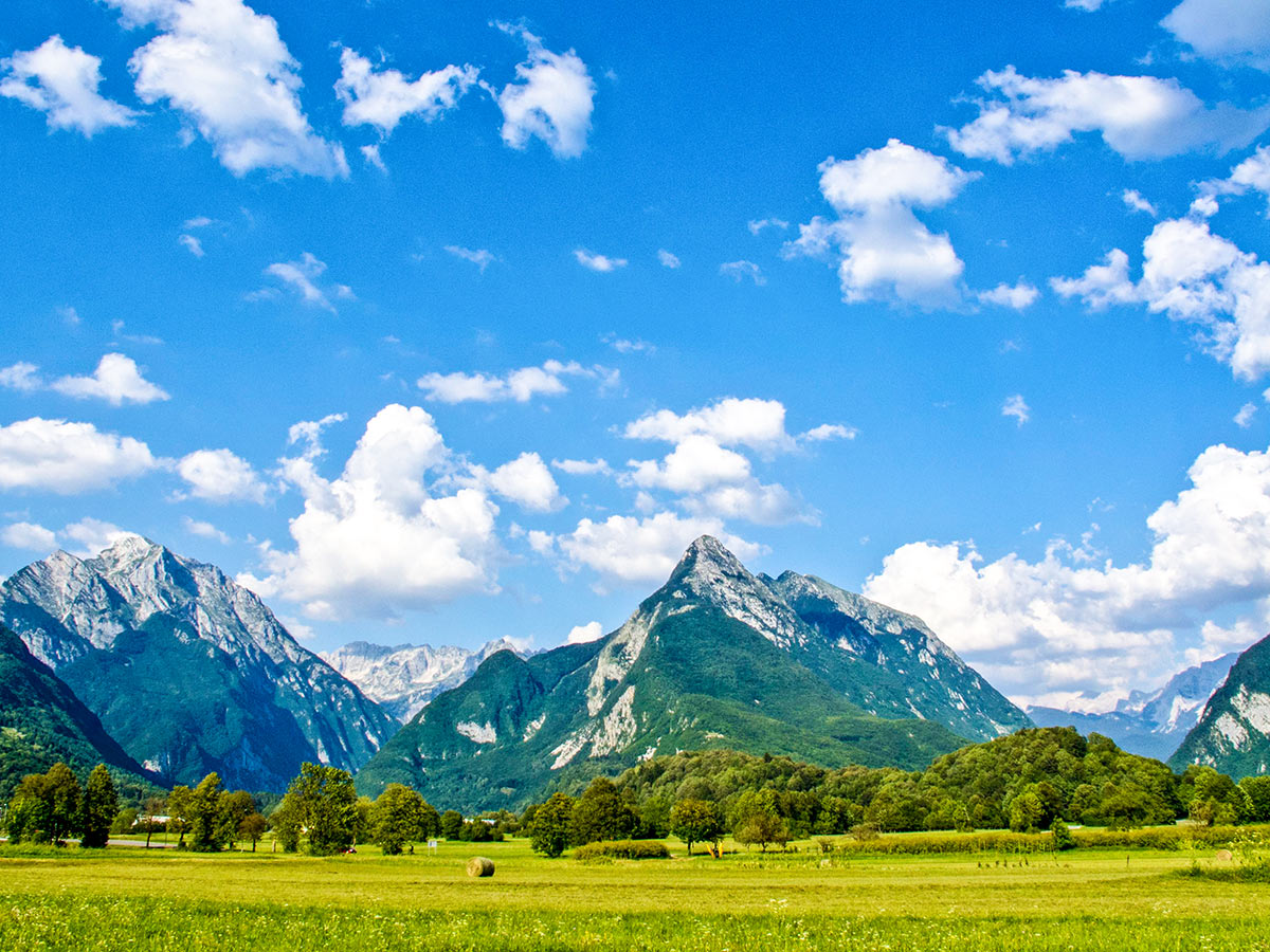 Beautiful green valley and mountains in Slovenia