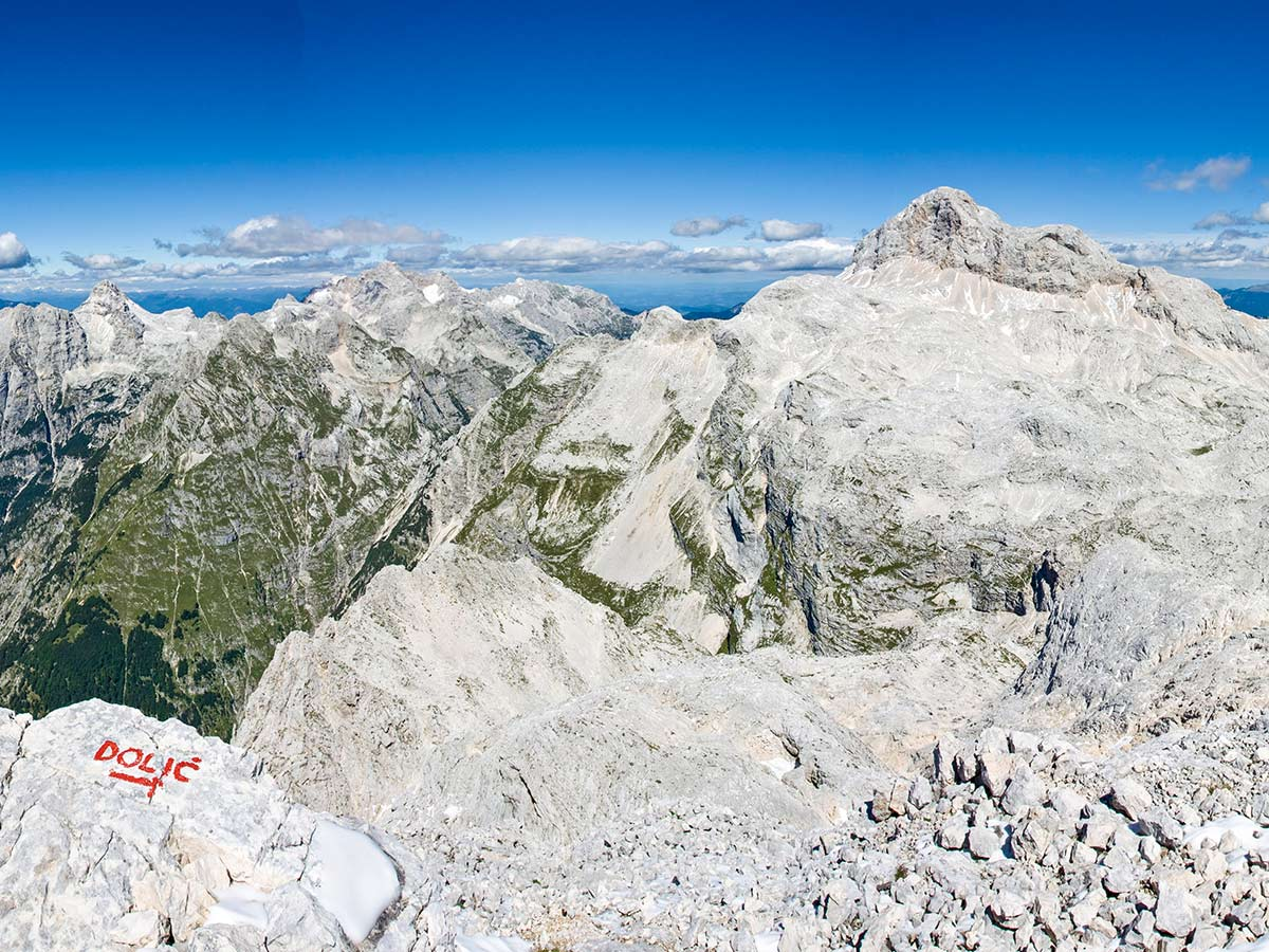 Kanjavec mountain view on Discover Slovenian Alps Tour