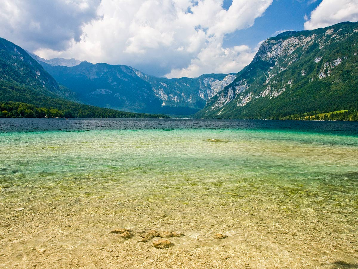 Lake views seen on Hiking in Slovenian Alps on Hut to Hut tour