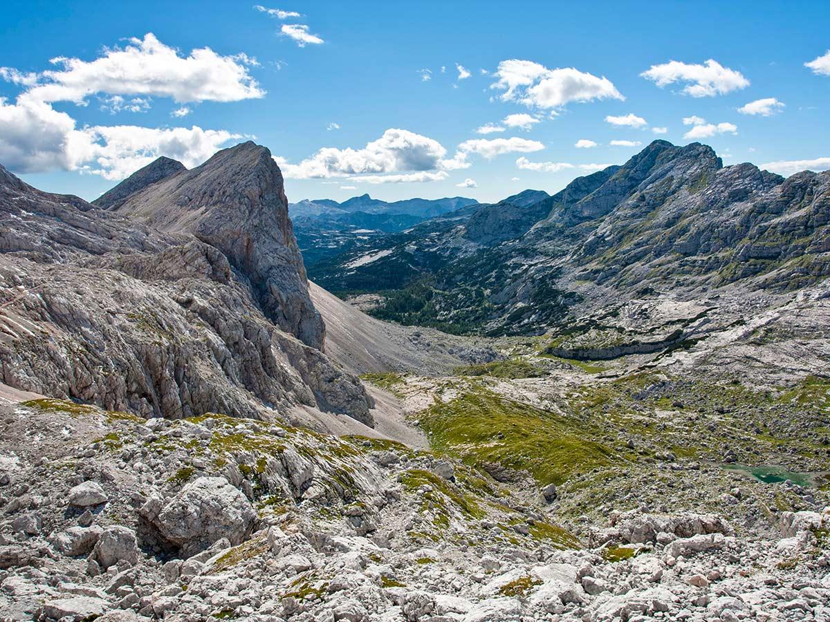 Triglav National Park views near Kanjavec seen on Hiking in Slovenian Alps on Hut to Hut tour