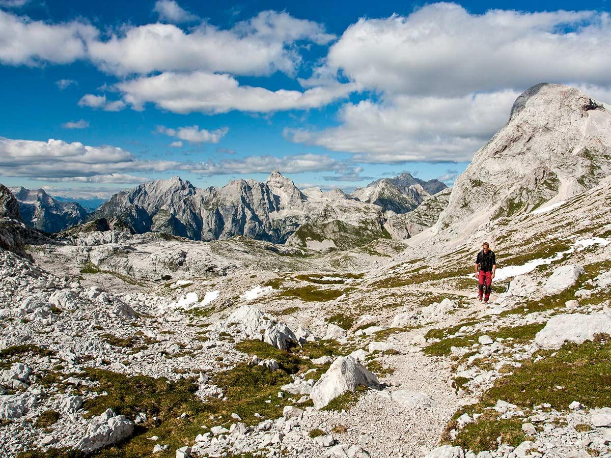 Hiking in Slovenian Alps on Hut to Hut tour rewards with beautiful views around Kanjavec