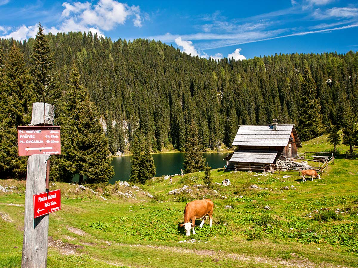 Signposts near old farmhouse seen in Triglav National Park on Hiking in Slovenian Alps on Hut to Hut tour