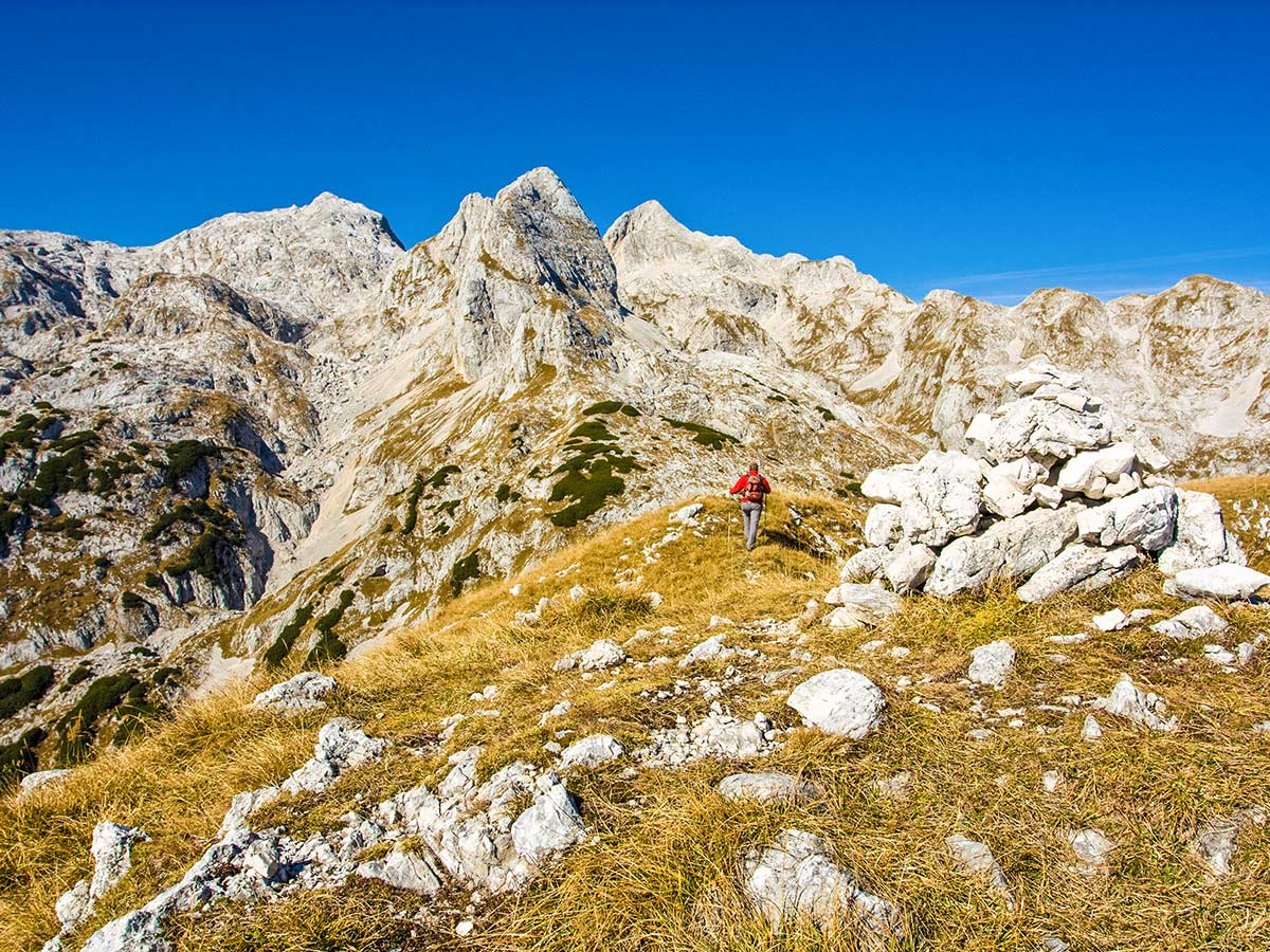 Mountain views as seen on Hiking in Slovenian Alps on Hut to Hut tour