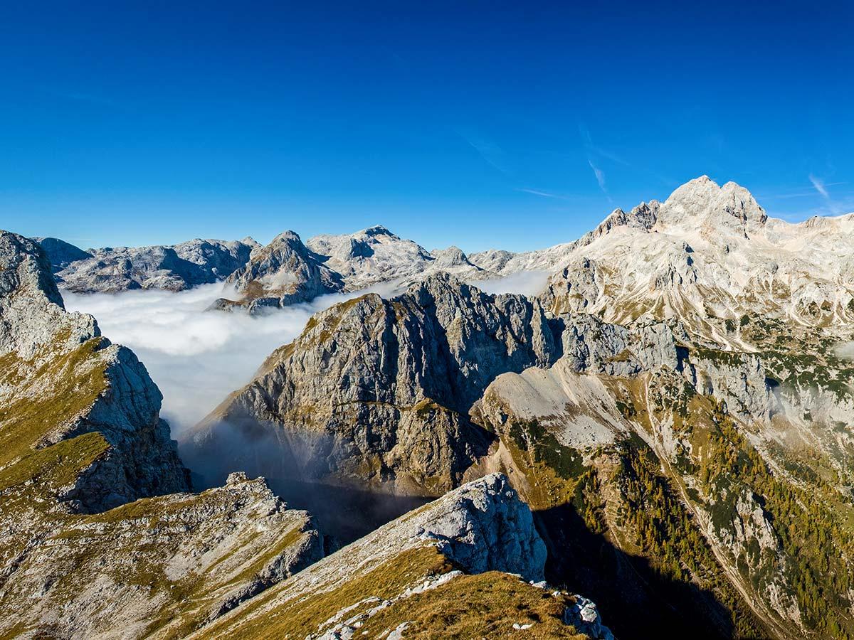 Panoramic view near Veliki and Mali Draski as seen near Hiking in Slovenian Alps on Hut to Hut tour
