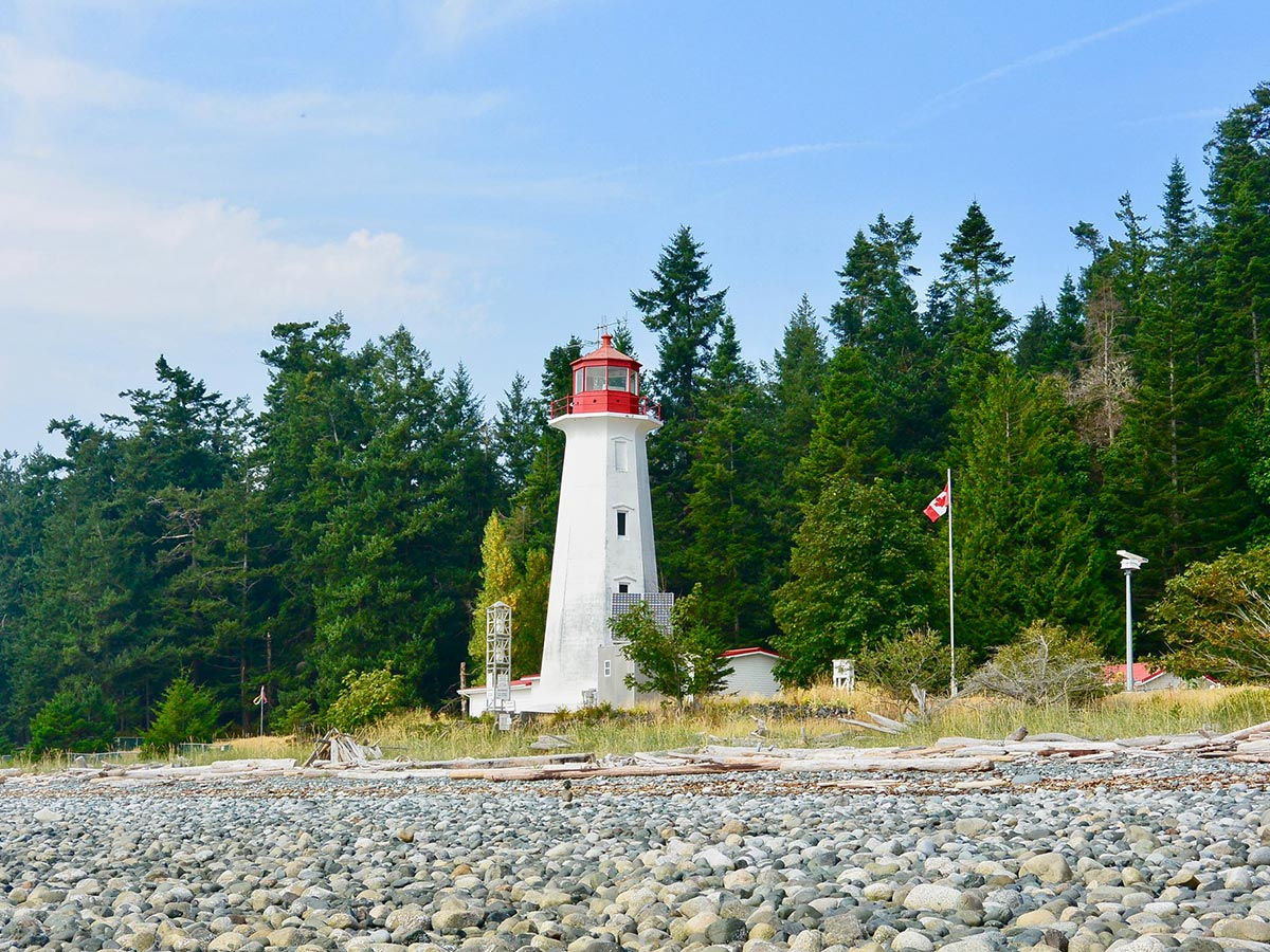 Island Joy Rides Self guided biking in Vancouver Island Lonely ligthtouse in Quadra Island