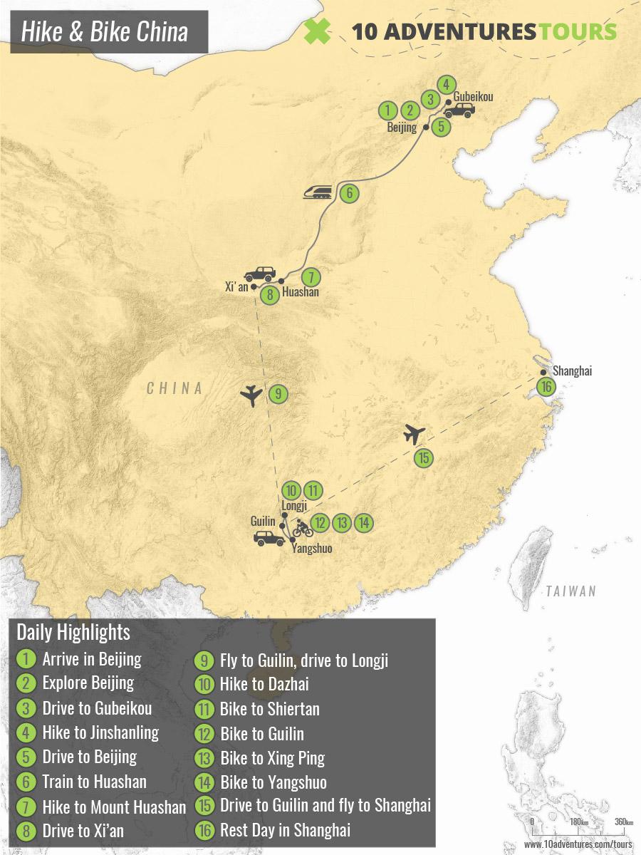 Map of Hike & Bike China guided tour