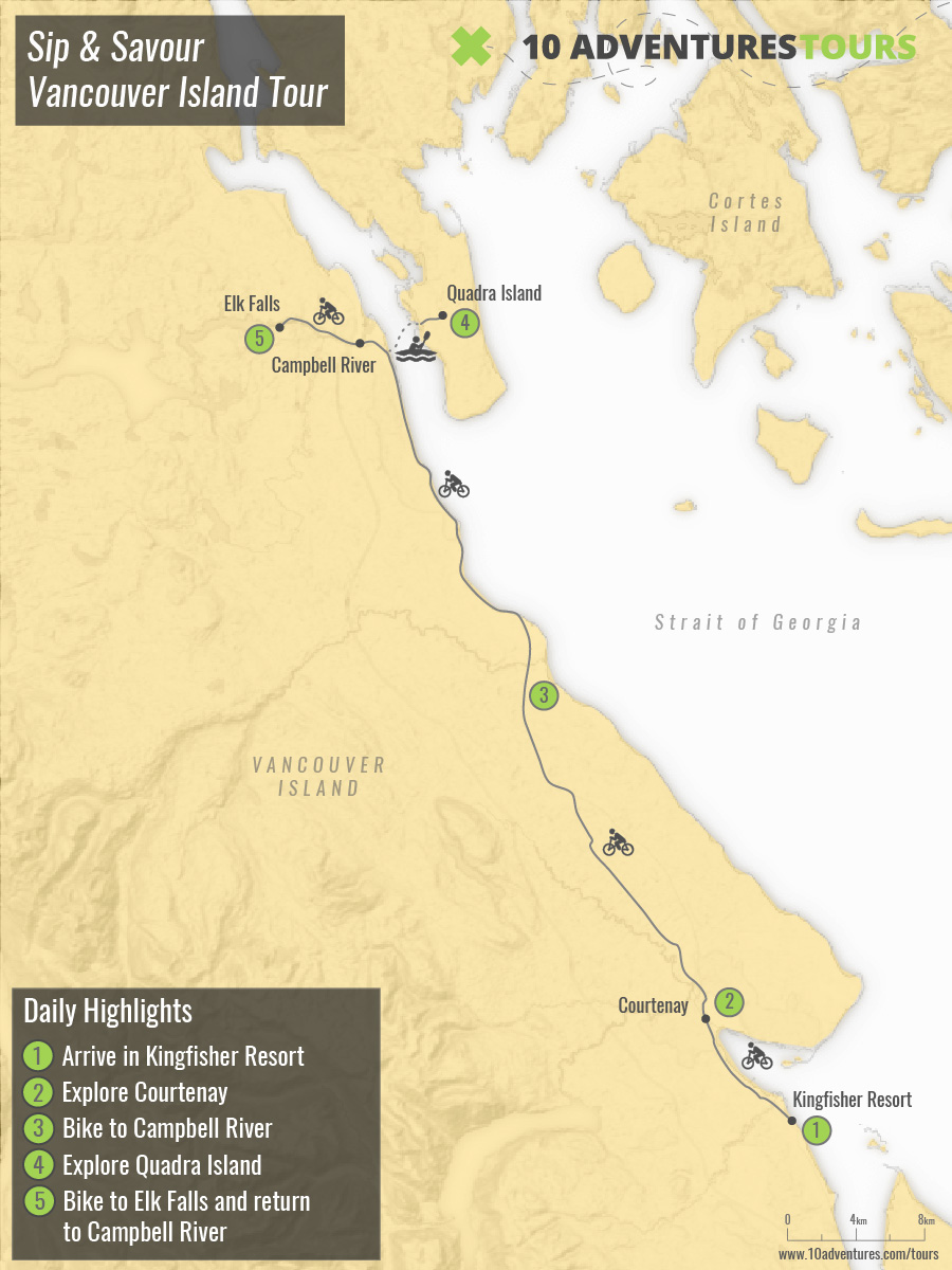 Map of guided Vancouver Island Bike Tour (Sip & Savour)