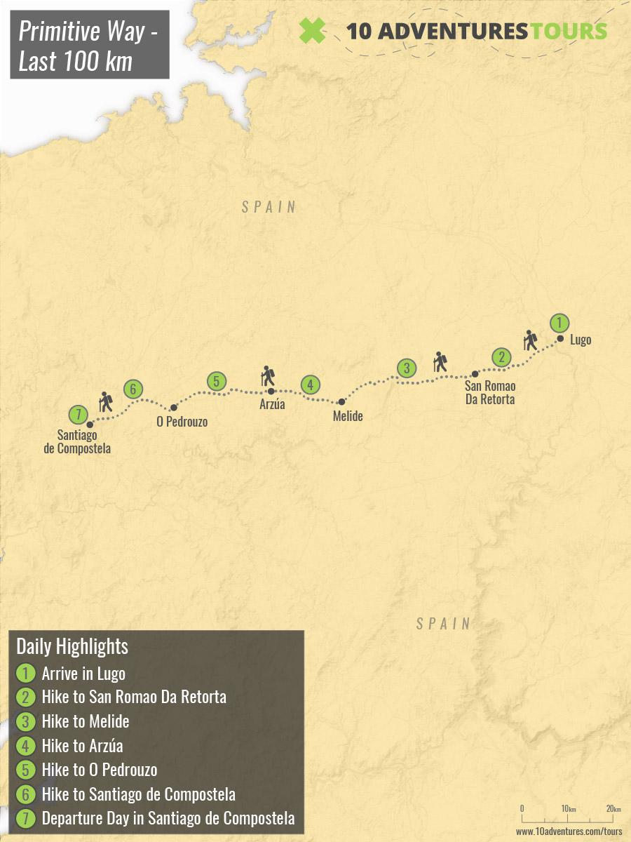 Map of self-guided Camino Primitivo Last 100km in Spain