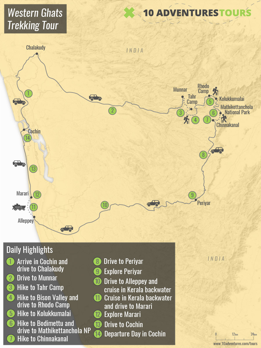 Map of guided Western Ghats Trekking Tour in India