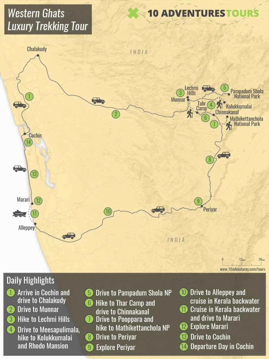 Map of guided Western Ghats Luxury Trekking Tour in India