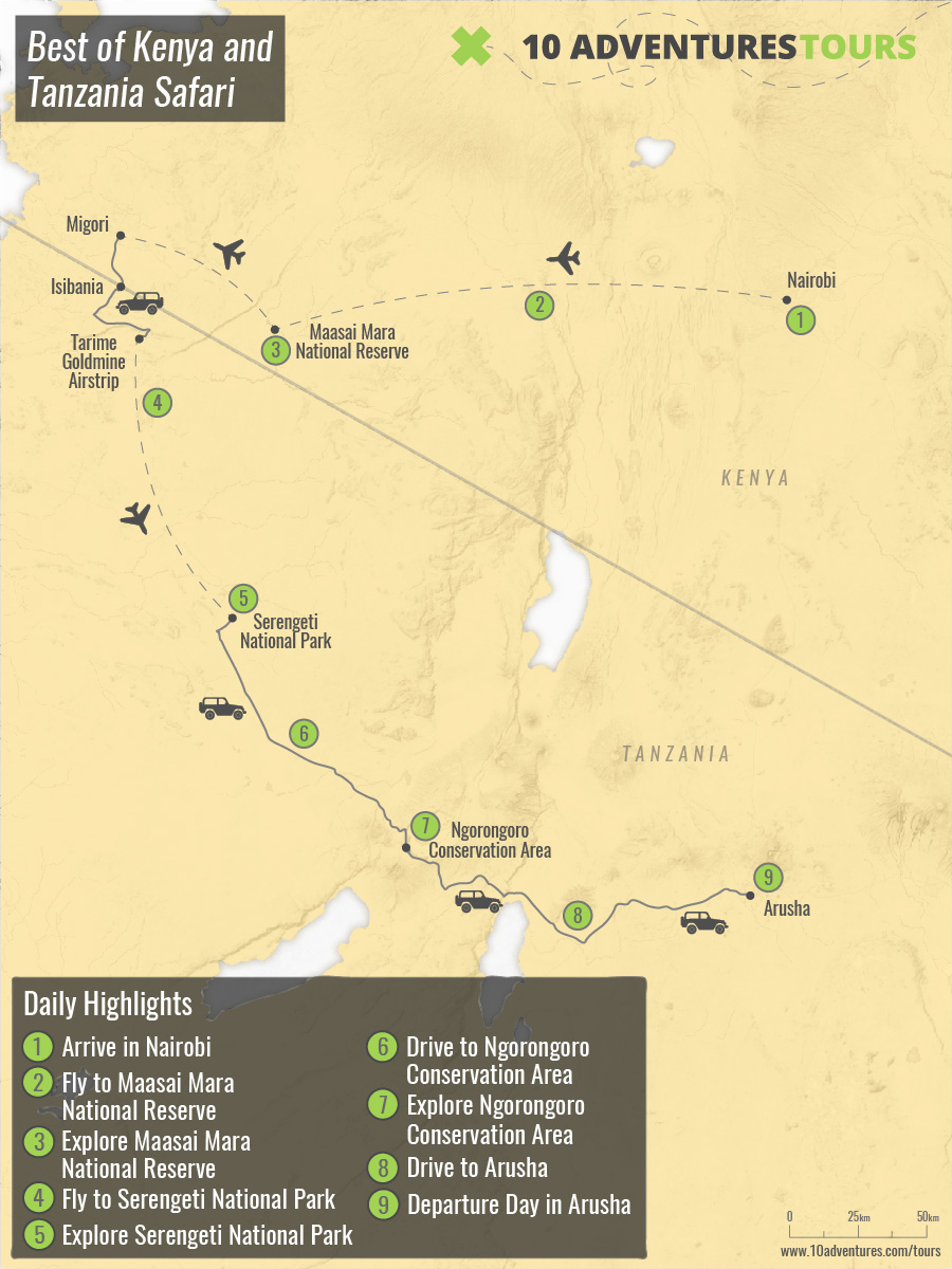 Map of Best of Kenya and Tanzania Safari