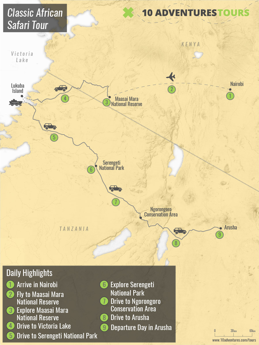 Map of Classic African Safari Tour in Kenya and Tanzania