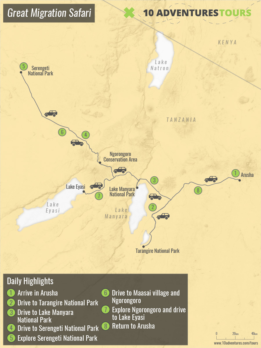 Map of Great Migration Safari in Tanzania