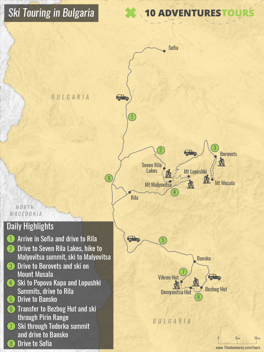Map of guided Ski Touring tour in Bulgaria