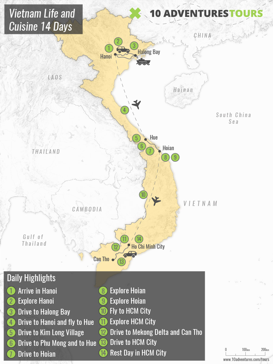Map of guided Vietnam Foodie and Culture Tour