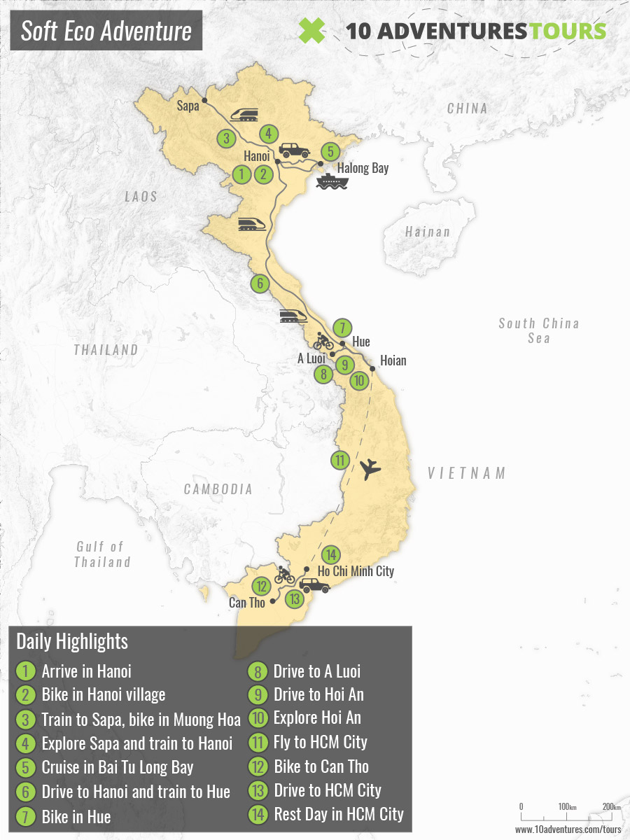 Map of Hike, Bike and Boat Vietnam Tour