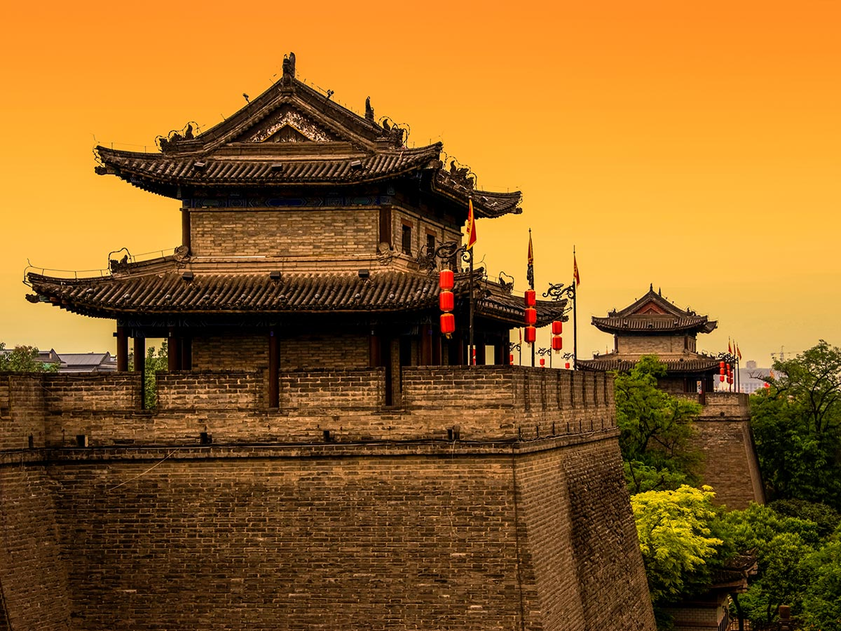 Sunset above the temple in Xi'an as seen on China by Bike and Backroads to Guilin