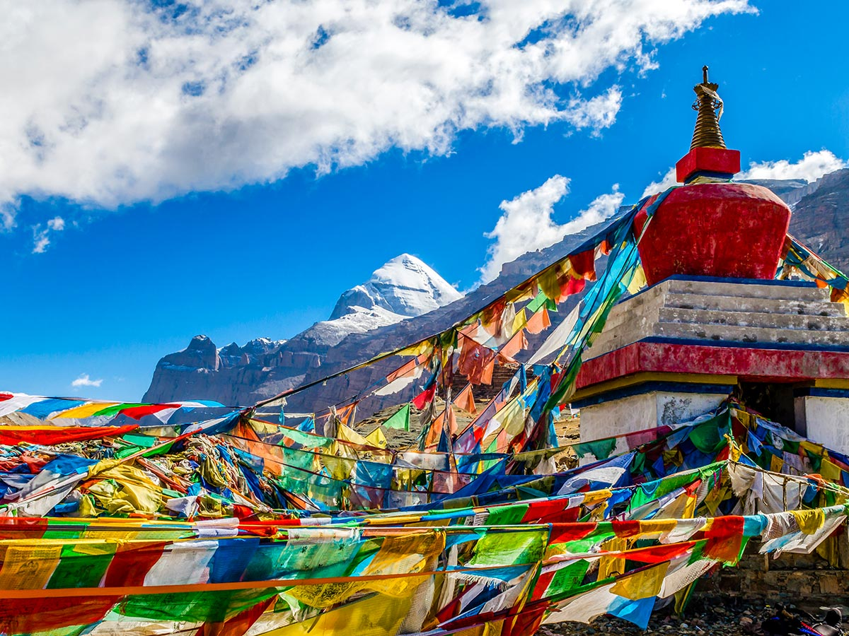 Prayer flags in Lhasa seen on China Tibet Encompassed Tour