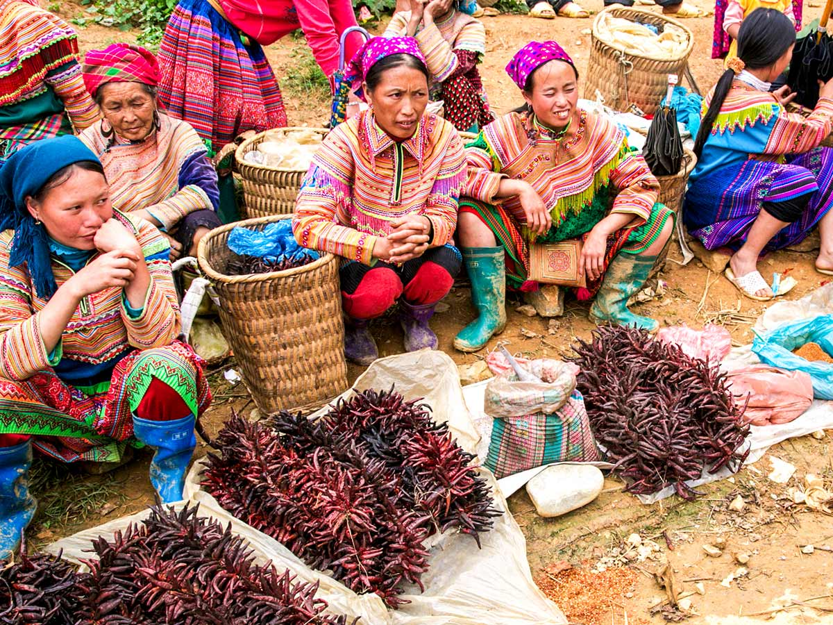 Street vendors in Hanoi seen on North Vietnam Mountain Trek