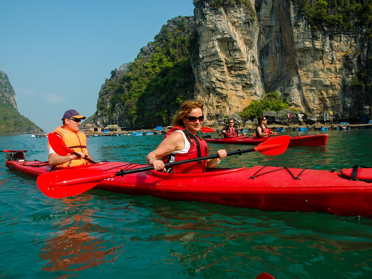 Kayaking in Halong bay is a wonderful adventure on Vietnam Tropical Journey Tour in Vietnam