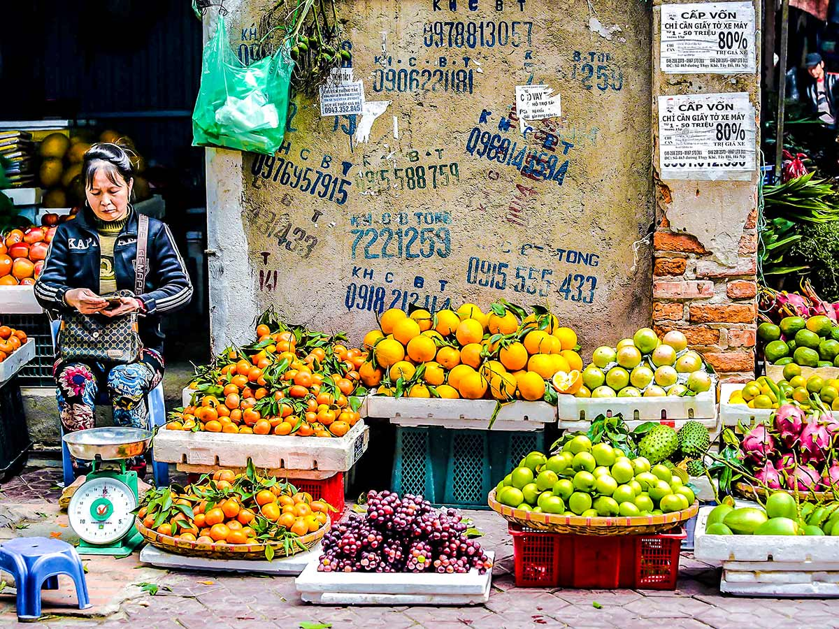 North Vietnam Mountain Trek visiting Hanoi and it's colorful market