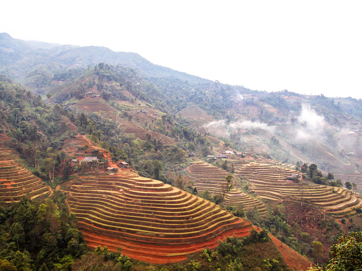 Expansive views of the countryside seen on North Vietnam Mountain Trek