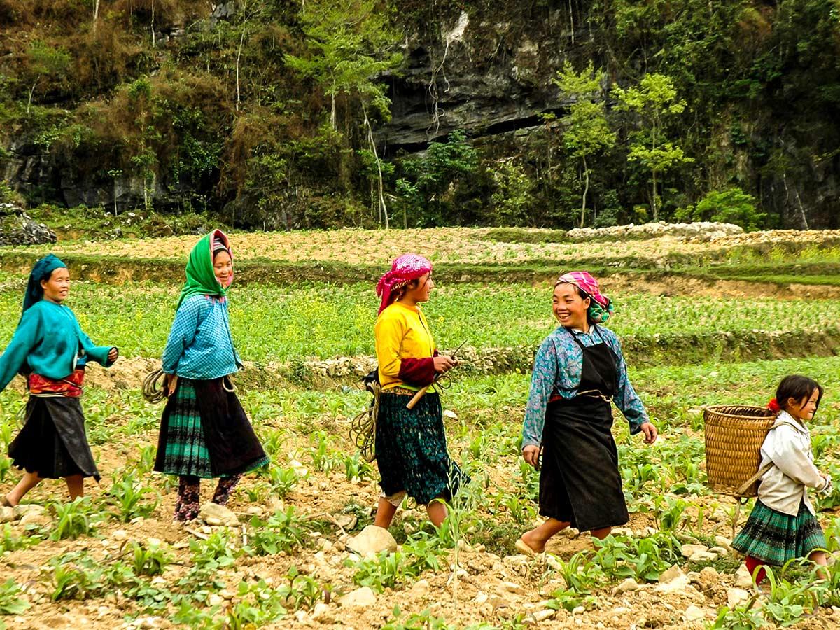 Group of village people seen on the trek in Northern Vietnam