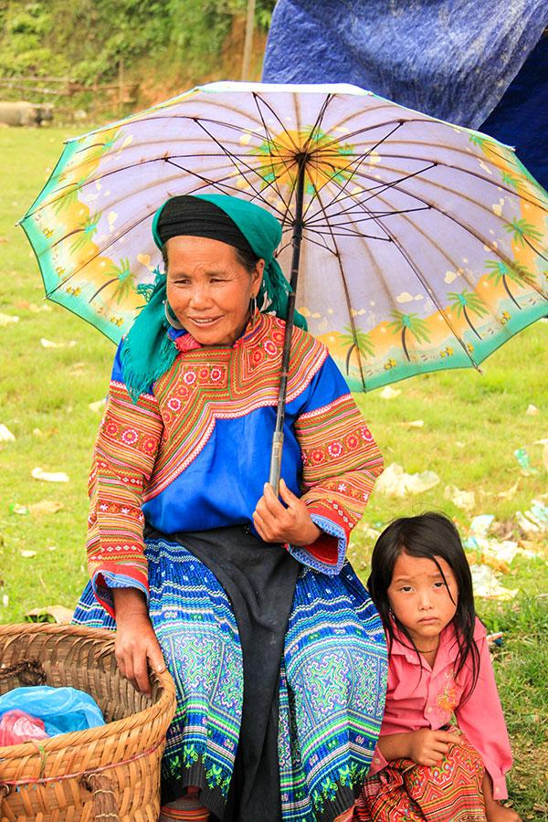 Vietnamese woman with daughter seen on North Vietnam Mountain Trek