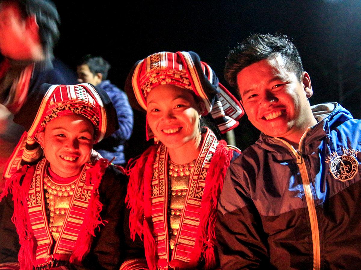 Enjoying a culture night on North Vietnam Mountain Trek