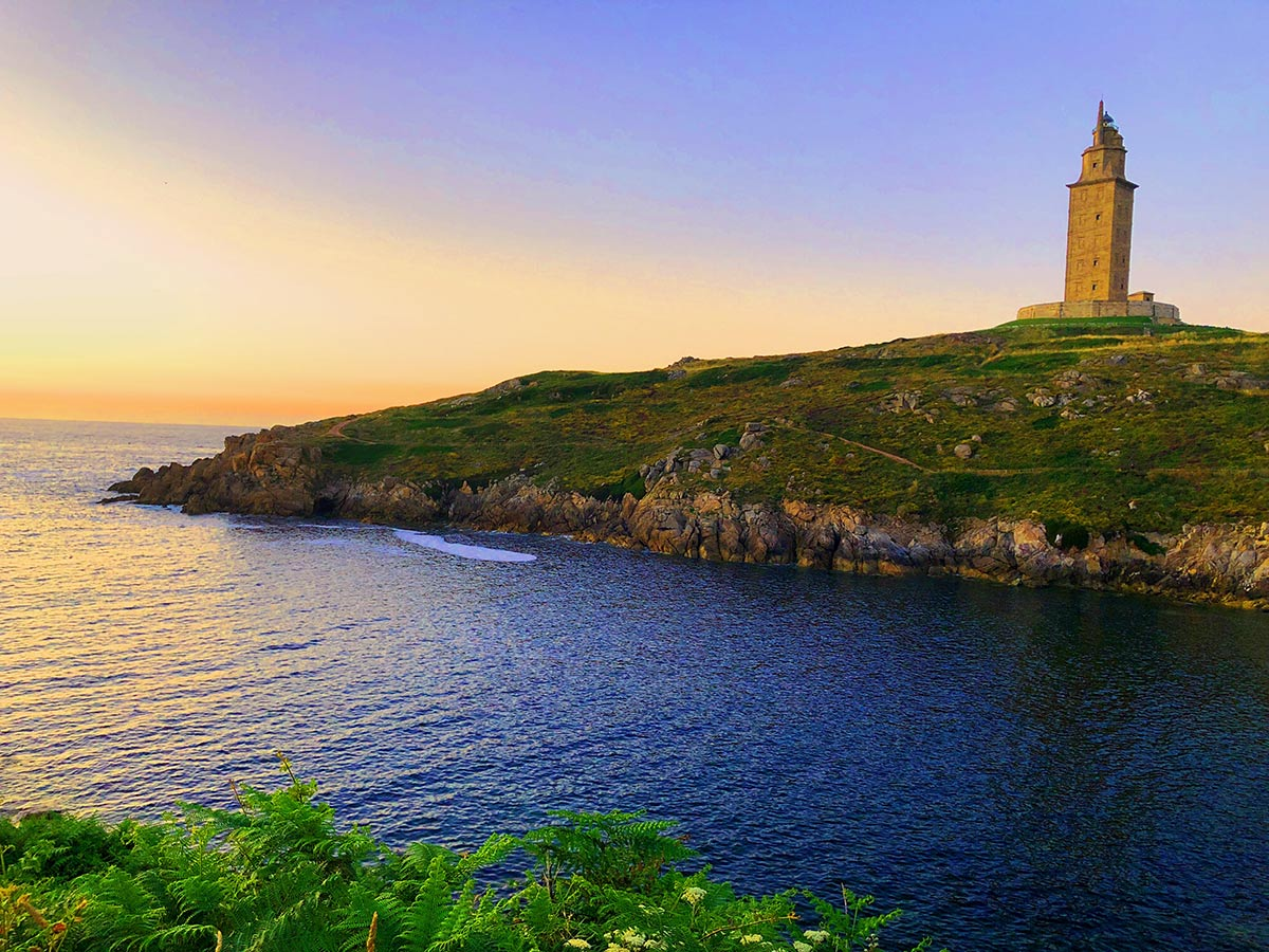 Beautiful lighthouse on the coast of Galicia Northern Spain