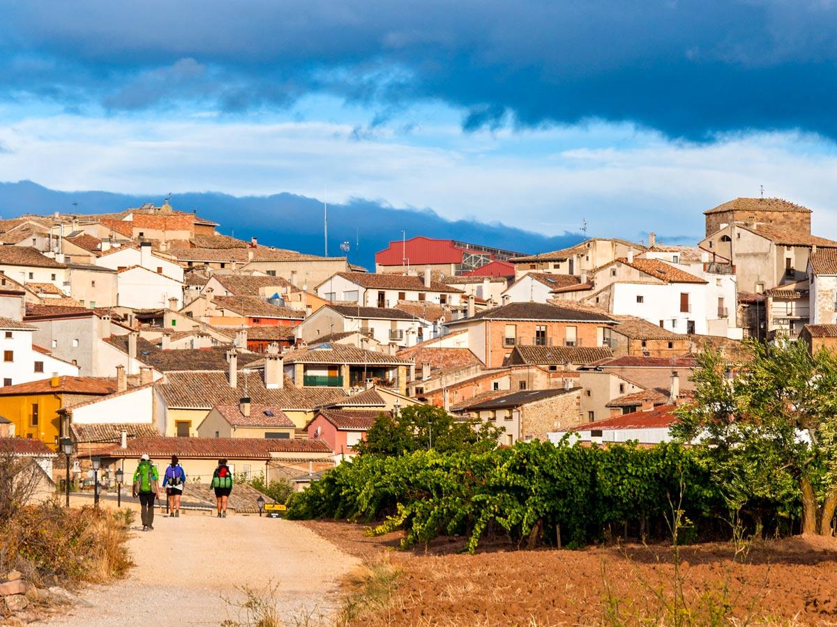 Beautiful village seen on Camino de Santiago French Way full trek