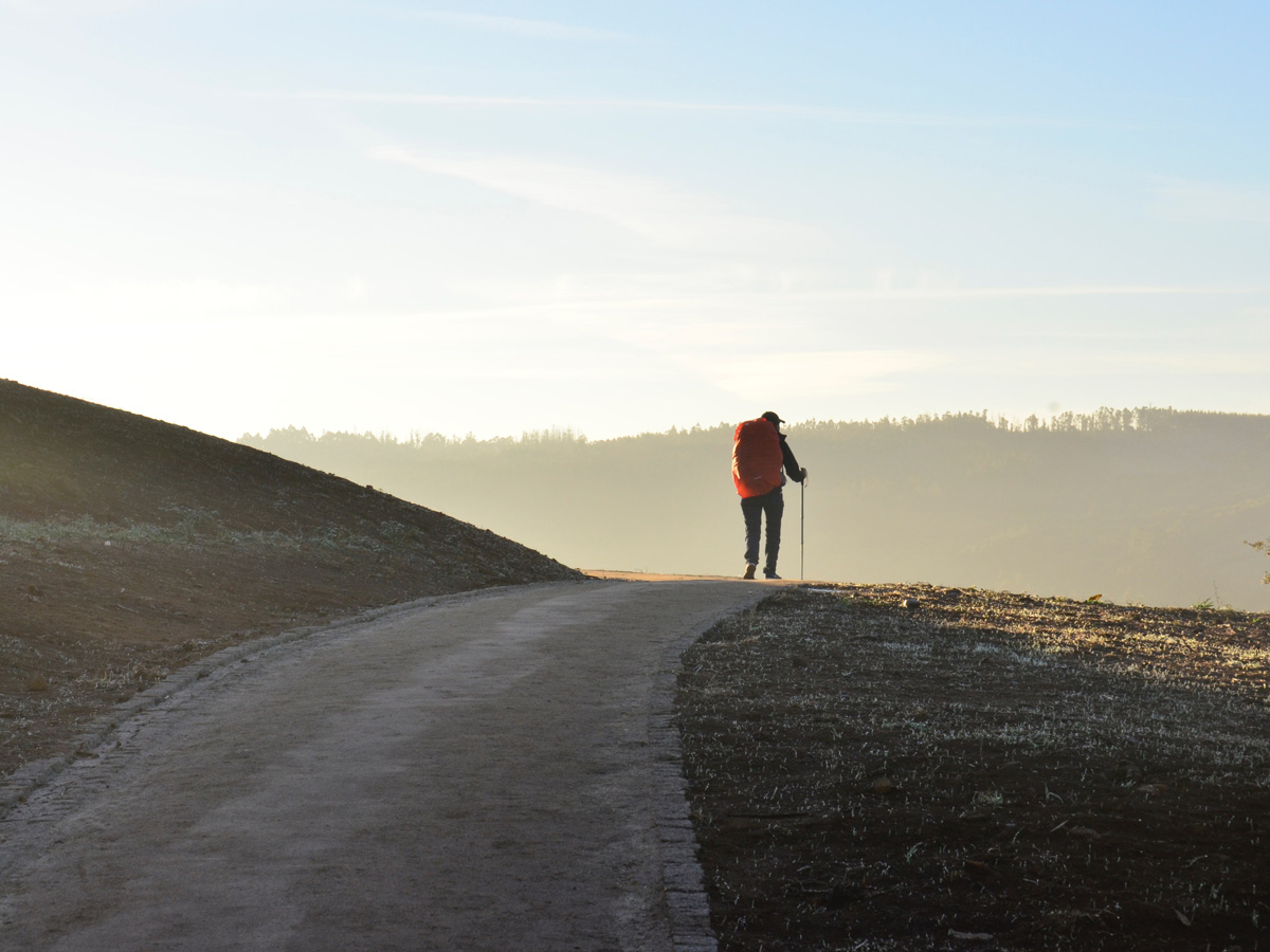Hiker approaching Santiago de Compostela while on Camino de Santiago French Way full trek