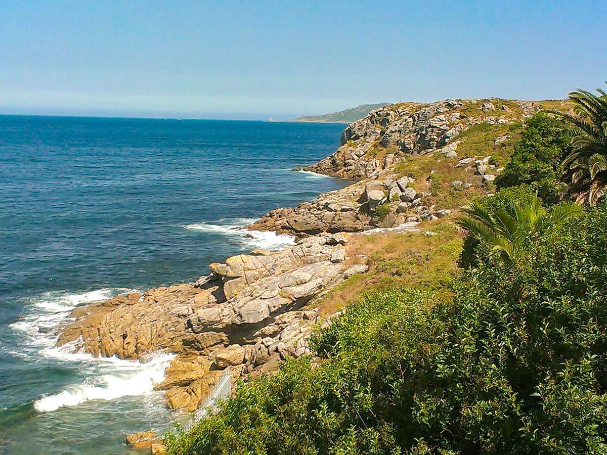Beauitful coast of Finisterre Costa de Muerte seen on Lighhouse Way Trek