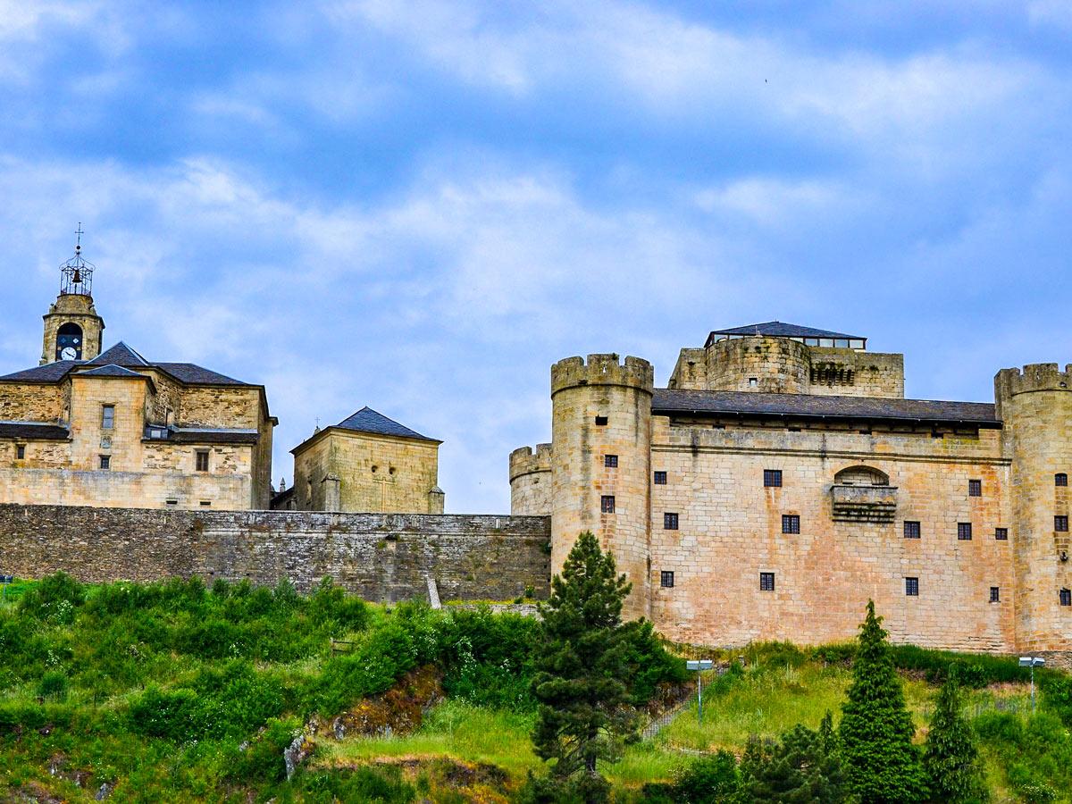 Beautiful castle seen along the trail of Via de la Plata in Spain