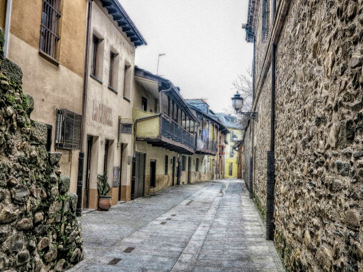 Beautiful oldtown along the trail of Camino de Invierno