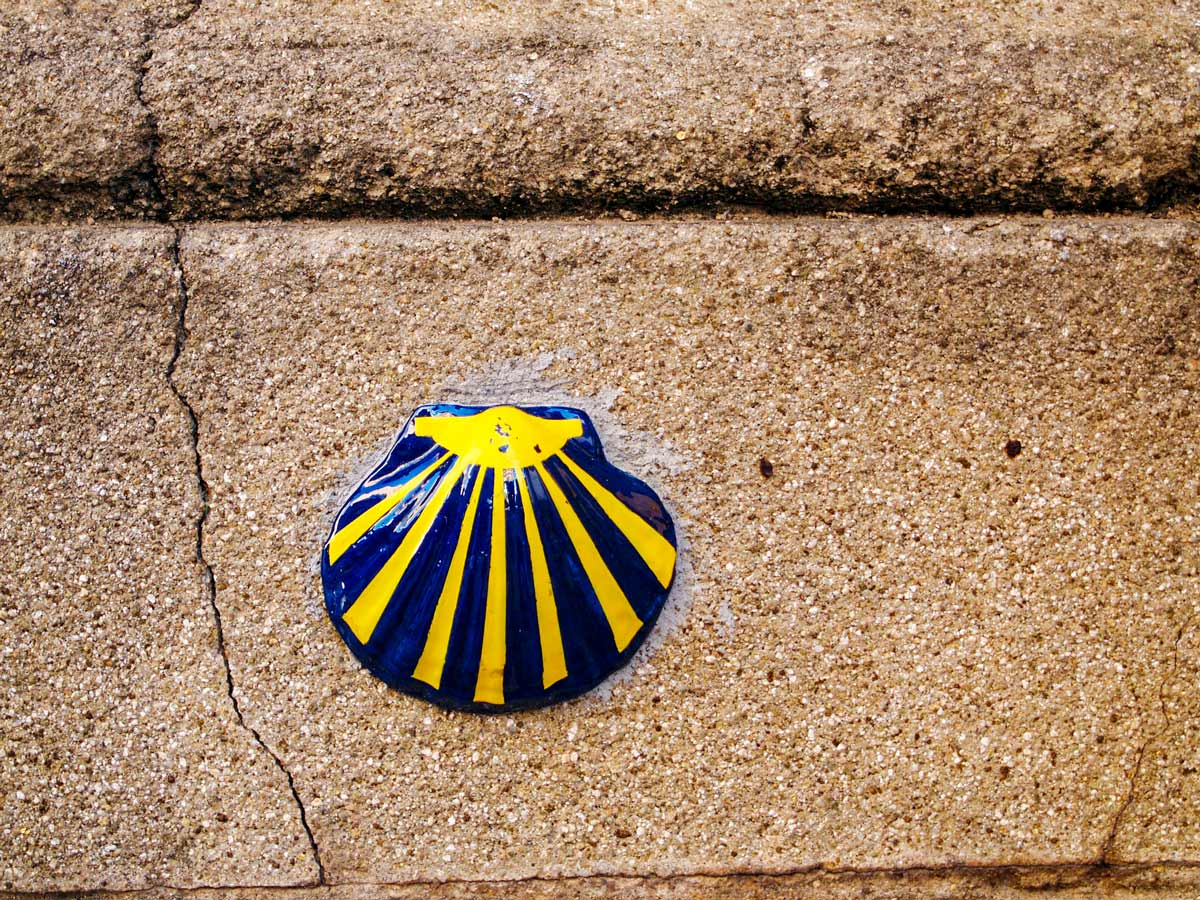 Camino de Santiago symbol seen along the trail of Winter Way Camino de Invierno