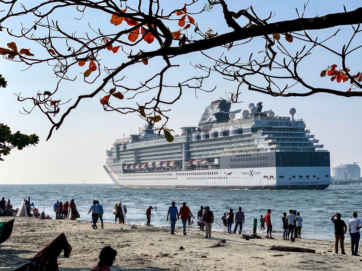 Cruise ship in Cochin on Biking in Western Ghats Tour