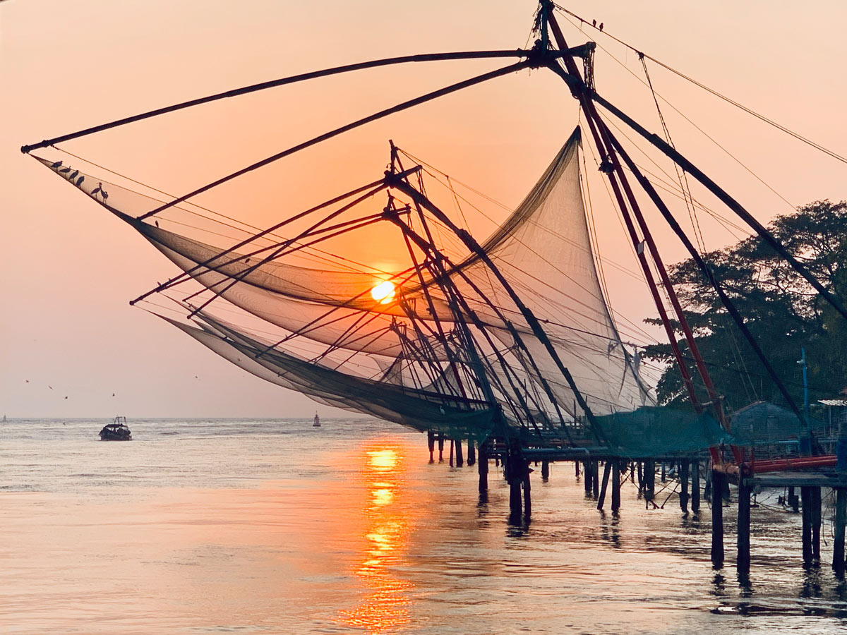 Marina of Cochin during the sunset