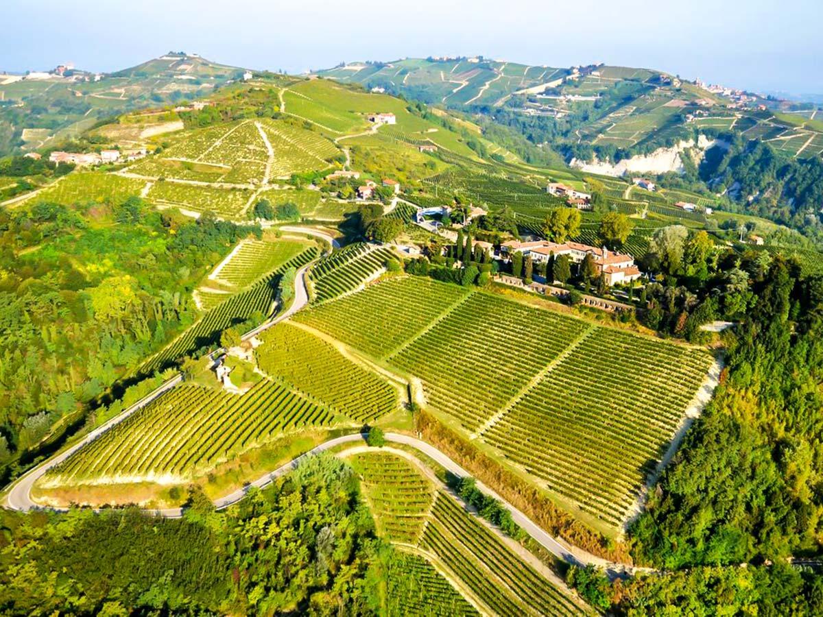 Beautiful views of the green valleys on Biking in Piedmonte Tour