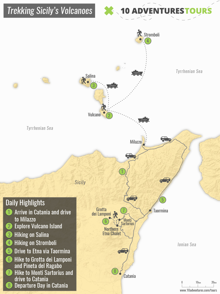Map of guided trekking in Sicily tour with visiting numerous Volcanoes
