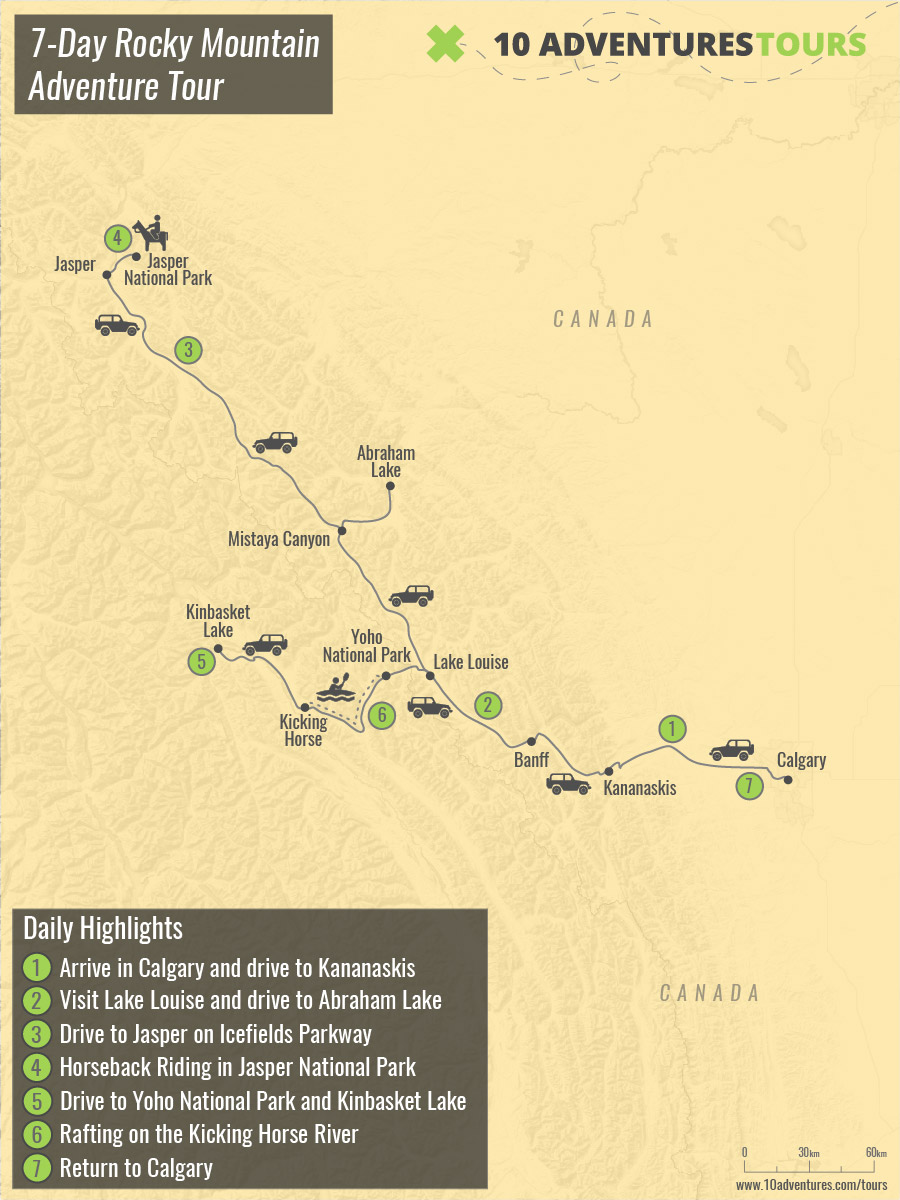 Map of 7-Day Rocky Mountain Adventure Tour in Canadian Rockies