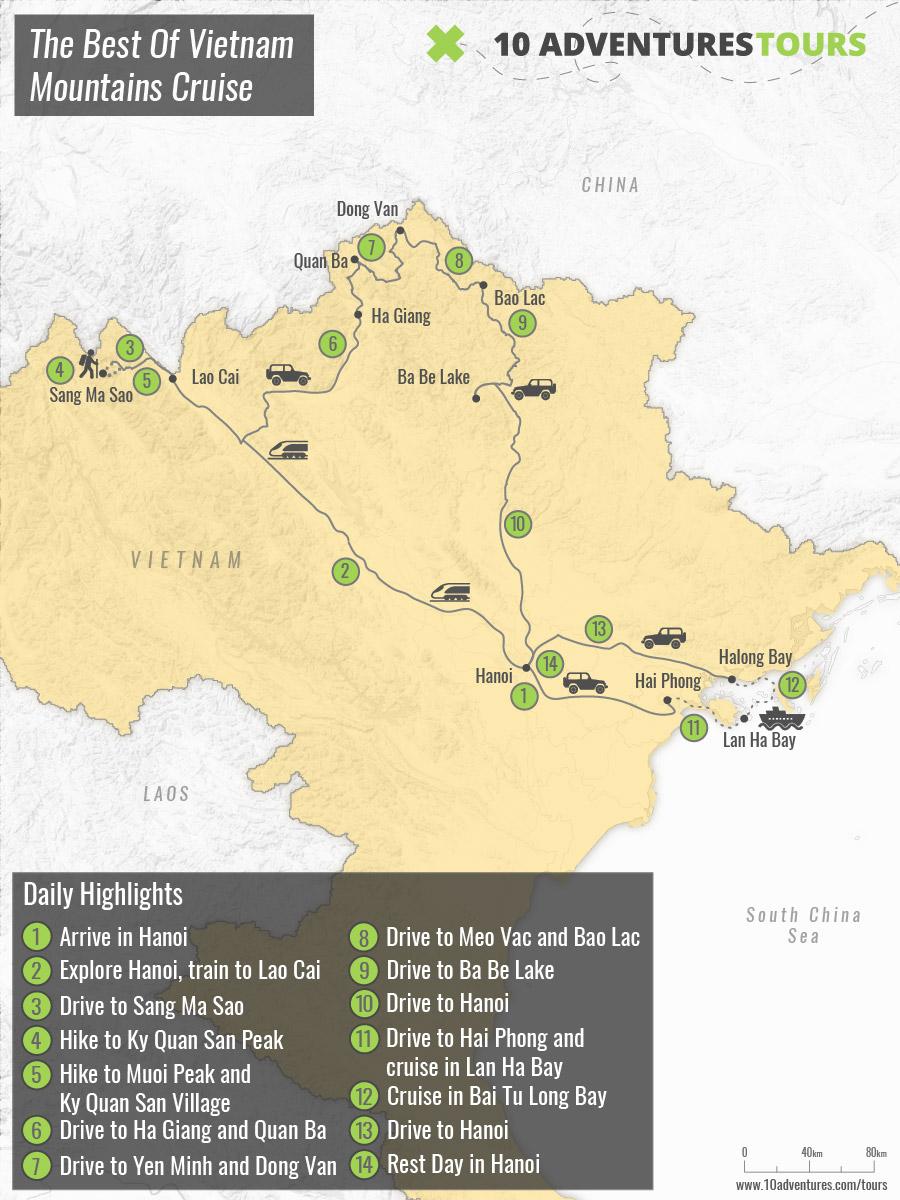 Map of Northern Vietnam Trekking & Halong Bay Tour