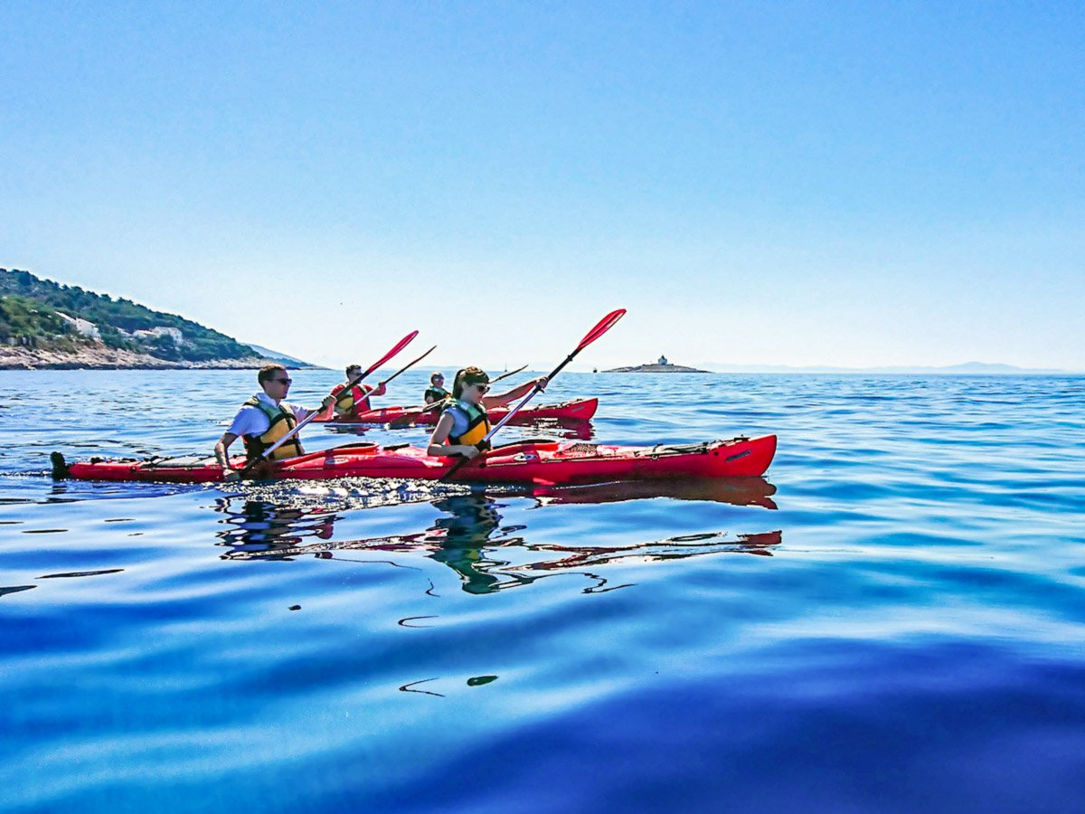 Kayaking near Hvar on a Journey Through Colors Tour in Croatia tour with a guide