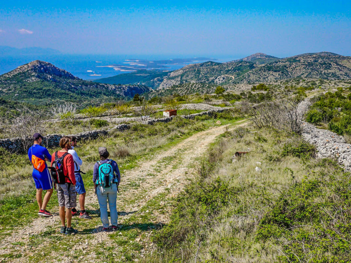Group of hikers hiking in Hvar Island in Croatia with a guide