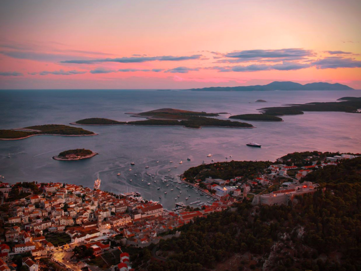 Sunset over the Dalmatian Sea, seen on Journey Through Colors Tour in Croatia