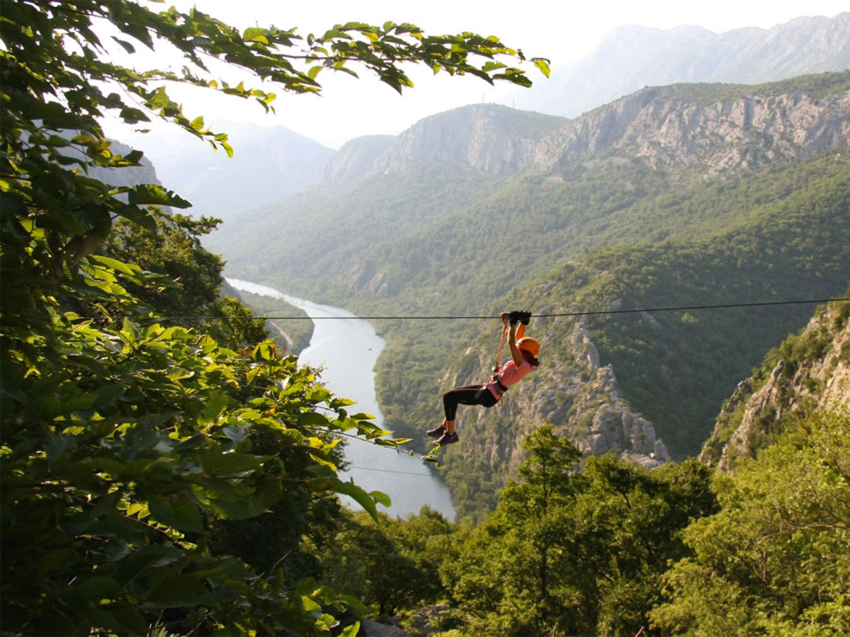 Family Adventure Tour in Croatia includes ziplining over the Cetina River