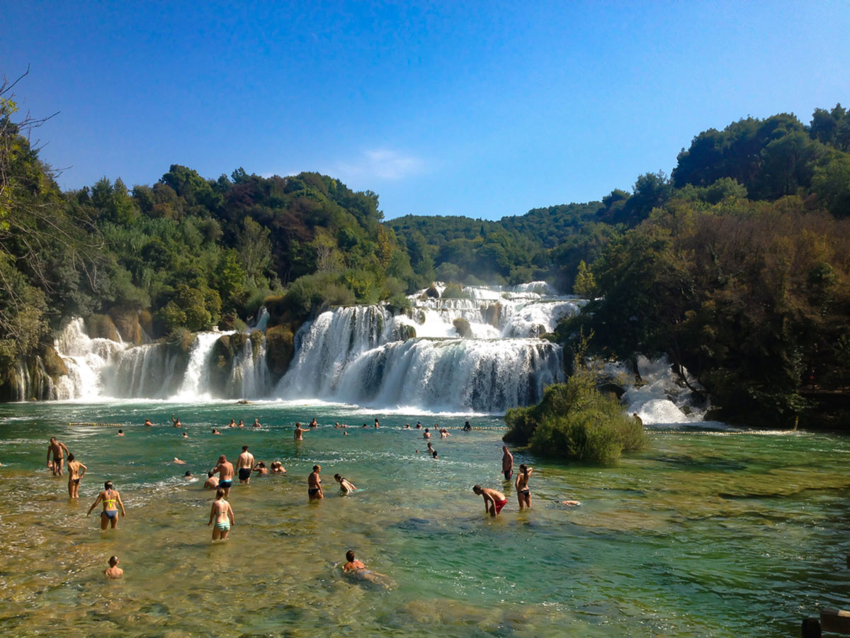 Beautiful beach near Krka Waterfalls visited on Family Adventure Tour in Croatia with a guide
