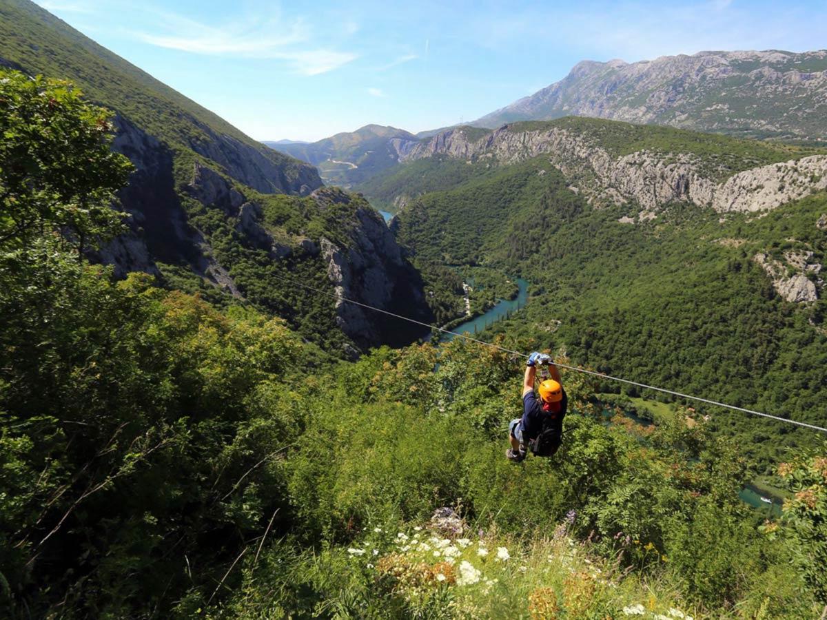 Cetina river zipline on Family Adventure Tour in Croatia