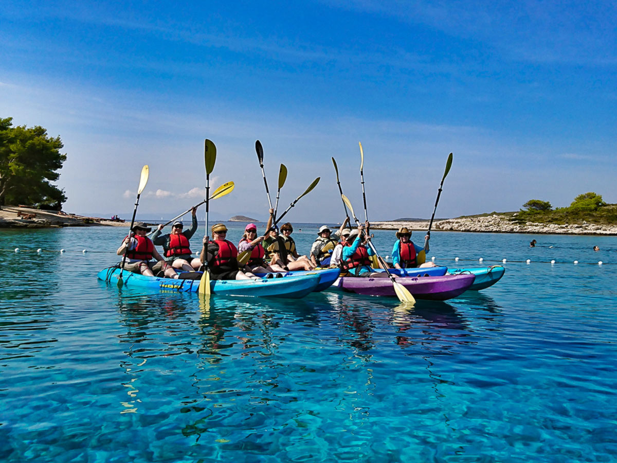 Group of kayakers in the sea near Pakleni Islands Hvar Croatia