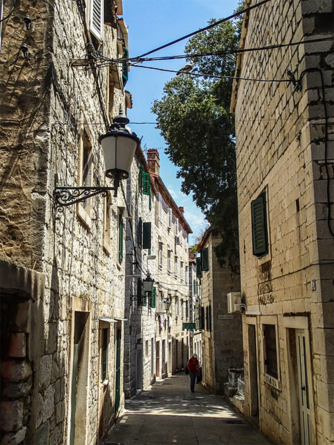 Cozy street in the oldtown of Split visited on a guided tour in Croatia